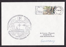 Denmark: Cover To Germany, 1984, 1 Stamp, Cancel NATO Stanavforchan, German Navy Vessel, Military (traces Of Use) - Denemarken