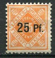 WURT - SE Yv. N° 61   Wz1  *  25p S 25p Orange  Cote  5 Euro   BE   2 Scans - Wuerttemberg