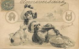 Tres Belle Jeune Fille Avec Cochons  . Art Card . Henriette . Champignon Porte Bonheur - Cerdos
