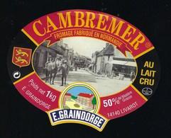 "Etiquette Fromage  Cambremer Fabriqué En Normandie  50%mg 1kg  E Graindorge Livarot 14 "" Cheval"" - Formaggio"