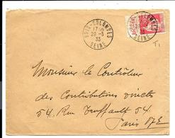 PUBLICITIMBRE De CARNET - Type PAIX 50c FLANELLE ARC EN CIEL - Sur Lettre 1933 - Carnets