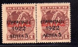 GREECE GRECIA HELLAS 1923 SURCHARGED 1922 ON CRETE PAIR 5 LEPTA On 1l MNH - Nuovi