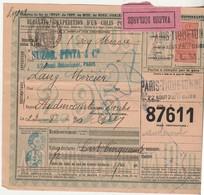 1923 Bulletin Expédition Colis Postal N° 87611 / Timbre N° 30 /  Mercerie Suzor Pinta Paris / Valeur Déclarée - Colis Postaux