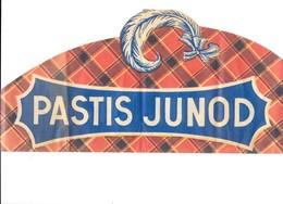 """Publicité Chapeau Type Calot En Papier Publicitaire  """" PASTIS-JUNOD """" - Alcohols"""