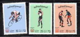 APR2267 - LIBIA LYBIA 1976 , Serie Yvert  N. 584/586  ***  MNH  Bike Boxe Football - Libia
