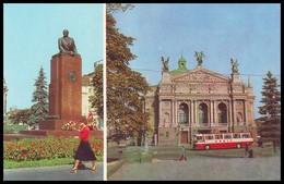 UKRAINE (USSR, 1982). LVIV. IVAN FRANKO STATE OPERA AND BALLET THEATRE / MONUMENT TO V. LENIN. Unused Postcard - Ukraine
