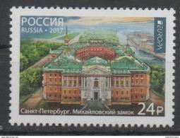 RUSSIA, 2017, MNH, EUROPA 2017, CASTLES, MIKHAILOVSKI CASTLE, ST. PETERSBURG, 1v - Europa-CEPT