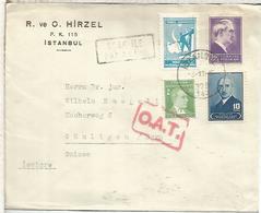 TURQUIA CC A SUIZA 1945 ISTANBUL  MARCA EN ROJO OAT RED CACHET - 1921-... República
