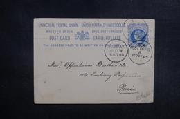 INDE - Entier Postal Commercial ( Repiquage Au Verso ) De Negapatam Pour Paris En 1885 - L 39570 - Inde (...-1947)