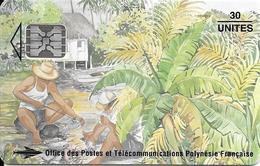 CARTE-PUCE-POLYNESIE-PF25 -SC5-30U-08/94-Les PECHEURS-N°Rouges Maigres C49100913-UTILISE-TBE- - Frans-Polynesië