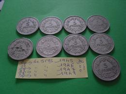 9 Pièces De 5 Frs - Münzen & Banknoten