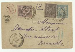 Entier Recommandée Type Sage Paris Pour La Belgique 1890 - Postmark Collection (Covers)