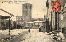 AGDE Sous La Neige Janvier 1914   Place De L Eveche... - Agde