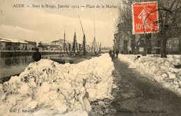 AGDE Sous La Neige Janvier 1914   Place De La Marine - Agde