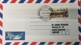 MACAU, 2008 ATM LABELS WORLD HERITAGE 5 PAT COVER TO GERMANY USED FROM MUSEUM POST - 1999-... Chinese Admnistrative Region