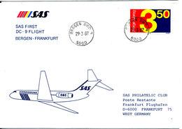 Norway Cover First SAS DC-9 Flight Bergen - Frankfurt 29-3-1987 - Norway