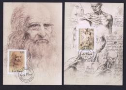 7.- LIECHTENSTEIN 2019 THREE MAXIMUM CARDS -  500 ANNIVERSARY OF THE DEATH LEONARDO DAVINCI - Celebridades
