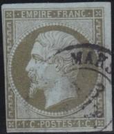 France  .   Yvert   .     11     .        O          .        Oblitéré - 1853-1860 Napoléon III