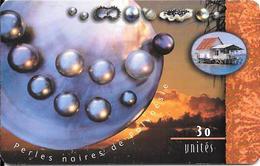CARTE-PUCE-POLYNESIE-30U-PF77-GEMB-PERLES NOIRES/COUCHER SOLEIL--UTILISE-TBE - Frans-Polynesië