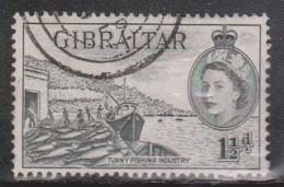 GIBRALTAR Scott # 134 Used - QEII & Fishing Industry - Gibraltar