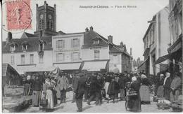 NEAUPHLE LE CHATEAU : Place Du Marché , Jour De Marché  (1905) - Neauphle Le Chateau