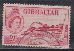 GIBRALTAR Scott # 136 Used - QEII & Sailing The Bay - Gibraltar