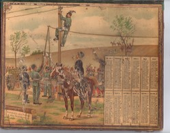 Calendrier Double Cartonnage 1901,Chromo Certaines Parties En Relief Mais Avec Malheureusement Des Manques - Kalender