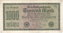 Alemania - Germany 1.000 Mark 15-9-1922 Pk 76 A Serie En Negro, Papel Blanco, Marca De Agua Tipo E Ref 30 - [ 3] 1918-1933 : República De Weimar