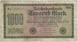 Alemania - Germany Alemania 1.000 Mark 15-9-1922 Pk 76 H Serie En Verde, Papel Verde Pálido Ref 57-2 - [ 3] 1918-1933 : República De Weimar