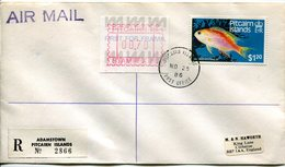 Pitcairn Islands 1986 Frama And Fish Registered Cover (SG 257) - Stamps