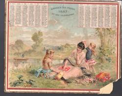 Calendrier 1897, L'été, Beau Chromo Mais Avec Défaut D'angle Bas Droit - Calendari