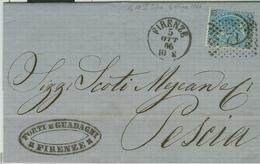 V.E.II Cent.20 (ferro Di Cavallo),LETTERA 1866,TIMBRO SARDO-ITALIANI PICCOLO+ NUMERALE 71 A PUNTI  FIRENZE,PER PESCIA - 1861-78 Victor Emmanuel II