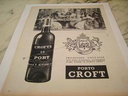 ANCIENNE PUBLICITE VIN  LE PORTO CROFT 1956 - Alcohols