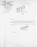 """Lettre Dactylographiée Du """"COMITE NATIONAL DEDEFENSE CONTRE L'ALCOOLISME"""" Du 15/09/1961 - Signée André MIGNOT - Organisations"""