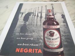 ANCIENNE PUBLICITE RHUM NEGRITA UN  BON RHUME 1955 - Alcools