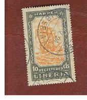 LIBERIA  -   SG R501 - 1924  REGISTRATION STAMPS:  HARPER (SAILING SHIP)    -  USED° - Liberia