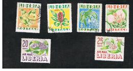 LIBERIA  -   SG 763.768 - 1955  FLOWERS  (COMPLET SET OF 6)   -  USED° - Liberia