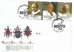 """Portugal 2010 FDC Registado  """"Papas Paulo VI  João Paulo II E Bento XVI"""" - Papas"""