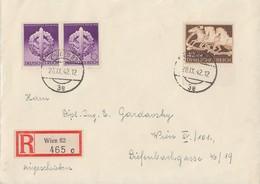DR Orts-R-Brief Mif Minr.815,2x 818 Wien 28.9.42 - Deutschland