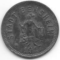 *notgeld Bensheim 50 Pfennig  1917 Zn  803. 5 / F34.4a - Andere