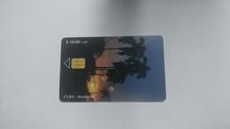 Cuba-atarecer-($10.00)-tirage-30.000-used Card+1card Prepiad Free - Cuba