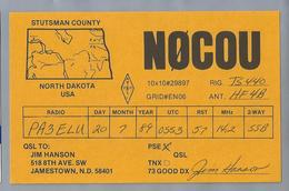 US.- QSL KAART. CARD. NØCOU,  JIM HANSON, JAMESTOWN, NORTH DAKOTA. STUTSMAN COUNTY.U.S.A.. ARRL. - Radio-amateur