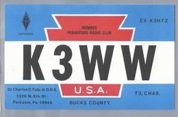 US.- QSL KAART. CARD. K3WW. Dr. CHARLES D. FULP Jr. D.D.S.. PERKASIE, Pennsylvania,  BUCKS COUNTY. U.S.A. ARRL - Radio-amateur
