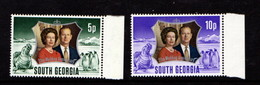 SOUTH  GEORGIA    1972    Royal  Silver  Wedding    Set  Of  2    MNH - Südgeorgien