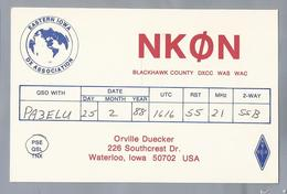 US.- QSL KAART. CARD. NKØN. ORVILLE DUECKER, WATERLOO, IOWA. BLACKHAWK COUNTY. U.S.A. - Radio-amateur