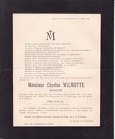HUY Château De La SARTE Lez Huy Charles WILMOTTE Banquier 1843 - La Sarte 1909 Faire-part DELLOYE CHANSAY SPRINGUEL - Décès