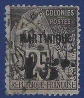France Colonies Martinique N°17c Oblitéré 15c Sur 25c Variété 5 Penché R & TTB - Martinique (1886-1947)
