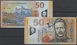 2019 Matej Gabris 50 KORUN STO ROKOV CESKOSLOVENSKA Ludovit Stur Bratislava POLYMER UNC SPECIMEN ESSAY Tirage Limité - Specimen