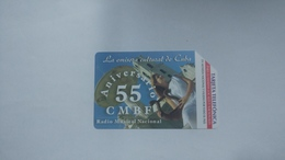 Cuba-aniversario55-urmet-(5.00pesos)-used Card+1card Prepiad Free - Cuba
