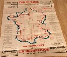 CARTE DU TOUR DE FRANCE 1947 Par Le Journal LA REPUBLIQUE DE TOULOUSE - Cyclisme